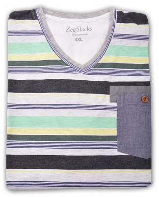 ZegSlacks - %100 Pamuk V Yaka T-shirt (1624)