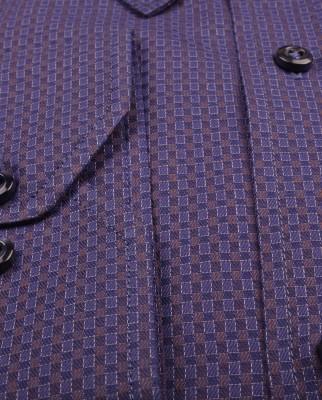 ZegSlacks - % 100 Pamuk Double Twested Exclusive Gömlek/Lacivert zemin Kahve-Mavi dokulu (gml4200)